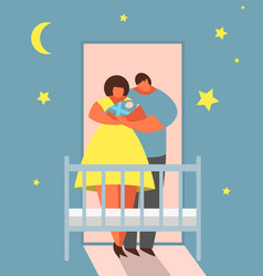 child bedtime happy mother and father lull baby vector image