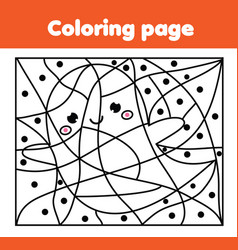 Coloring page with halloween ghost color by dots vector