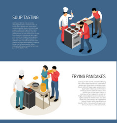 cook isometric banners vector image