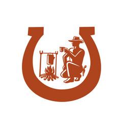 cowboy drinking coffee horseshoe mascot vector image
