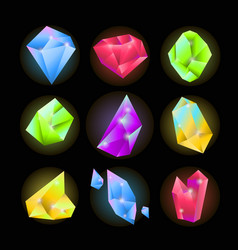 Crystals or sparkling gemstones vecor icons set vector