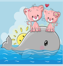 Cute cartoon kittens are sitting on the whale vector