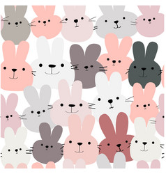 cute funny rabbit bunny head seamless pattern vector image