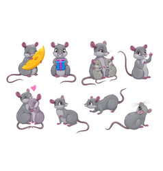 cute gray mouse icon little cartoon mice set vector image