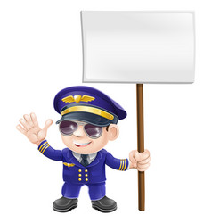 cute pilot with sign character vector image