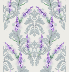 damask ornament and lavender pattern delicate vector image