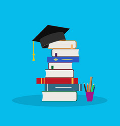 Education in school with book hat icon vector