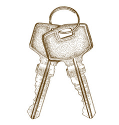 engraving of two keys vector image