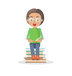 excited boy in glasses sits on heap of books vector image
