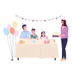 Family holiday birthday happy family celebrates vector