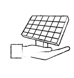 figure hand with solar energy element to reuse vector image