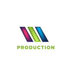film strip film roll cinema production logo vector image