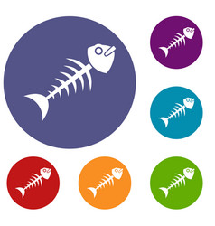 fish bone icons set vector image