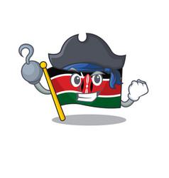 Flag kenya pirate cartoon with character happy vector
