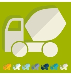 Flat design Cement Mixer vector image