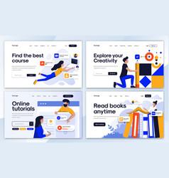 Flat modern design landing page template vector