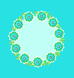 floral frame in form circle rounded shape banner vector image
