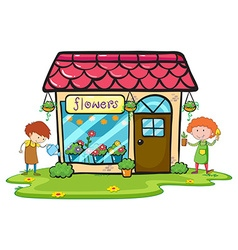 Flower shop with two gardeners working vector