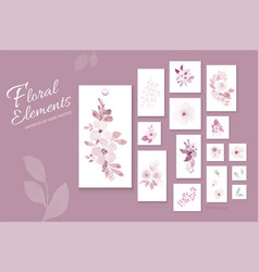 Flowers pastel pink watercolor hand-painted vector