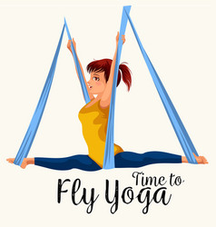 fly yoga flat poster with girl in sportswear doing vector image
