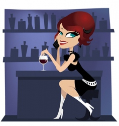 girl at the bar vector image