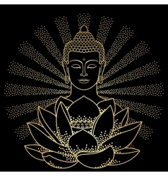 Gold Buddha and Lotus with beam of light vector
