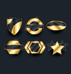 Golden empty badge labels elements collection vector