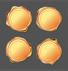 Golden wax seal stamp approval sealing set vector