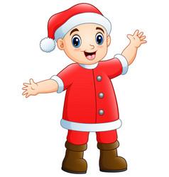 happy boy in santa claus co vector image