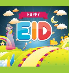 Happy eid with mosque vector