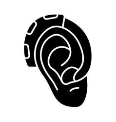 Hearing aid amplifier glyph icon vector