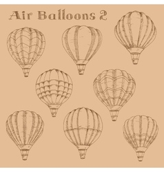 Hot air balloons in flight engraving sketch vector