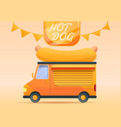 hot dog food truck concept banner cartoon style vector image
