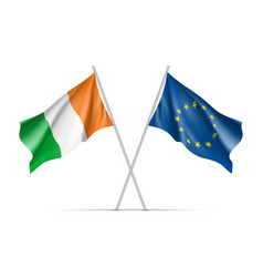 Ireland and european union waving flags vector