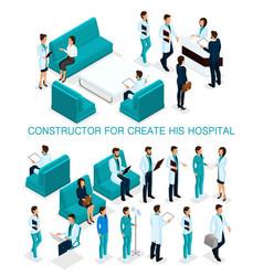 Isometric set of doctors nurses surgeons vector