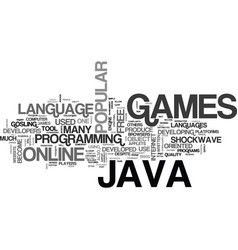Java online games text background word cloud vector