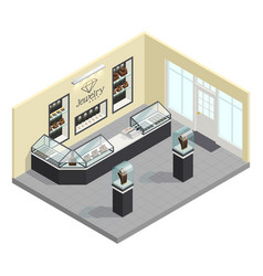 Jewelry shop isometric interior vector