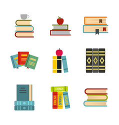 kit of books icon set flat style vector image