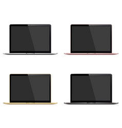 Laptop set silver dark grey gold and rose color vector