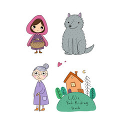 Little red riding hood fairy tale little cute vector