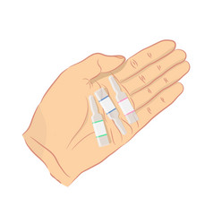 man holds ampoules vector image