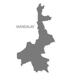 Mandalay myanmar map grey vector
