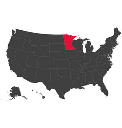 map of usa - minnesota vector image