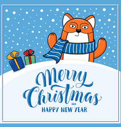 merry christmas greeting card with fox vector image