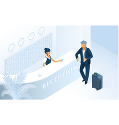 Modern hotel reception service isometric vector