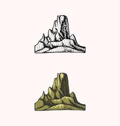 Mountain peaks emblem engraved vintage hand vector