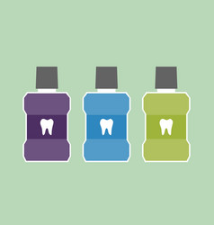 mouthwash bottle with a tooth on label vector image