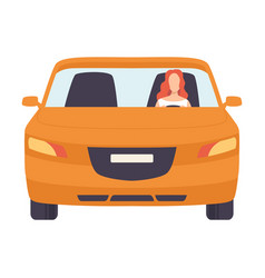 Orange car with female driver front view vector