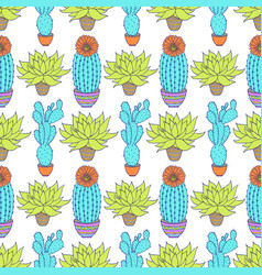 Pattern with cactuses vector