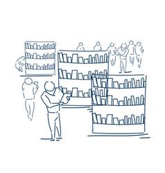 People group choosing book shelves library vector